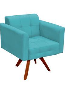 Poltrona Decorativa Giratória Gran Elisa Base Madeira Suede Azul Tiffany - D'Rossi