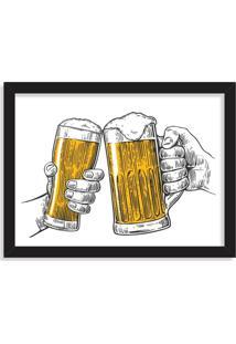 Quadro Decorativo Ein Prosit Bier Brinde Cerveja Preto - Médio