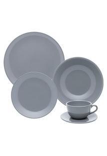 Aparelho De Jantar/Chá 30 Peças Oxford Unni Cerâmica Cinza