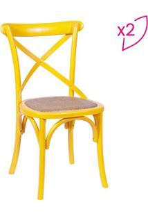 Jogo De Cadeiras Cross- Amarelo & Bege- 2Pçs- Oror Design