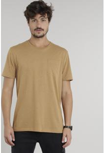 Camiseta Masculina Com Bolso Manga Curta Gola Careca Marrom