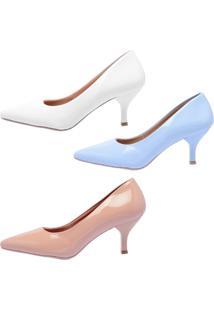 Kit 3 Pares Scarpin Ellas Online Branco/Azul/Nude