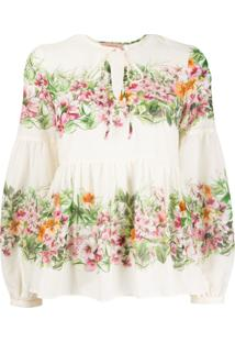 Twin-Set Blusa Com Estampa Floral - Neutro