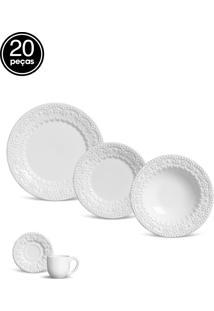 Aparelho Jantar/Chá 20Pçs Flat Fraise Branco.