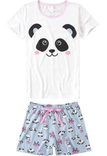 Pijama Curto Estampado Panda Malwee Liberta