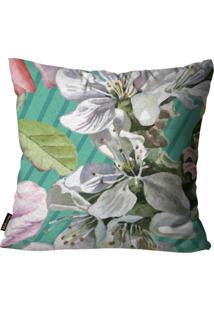 Capa Para Almofada Premium Peluciada Mdecore Floral Colorido 45X45Cm Verde