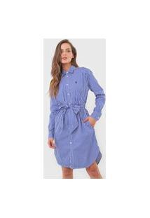 Vestido Chemise Polo Ralph Lauren Curto Listrado Azul-Marinho/Branco