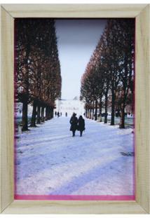 Porta-Retrato Wood Natural E Pink 17X19Cm