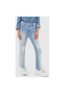 Calça Jeans Lança Perfume Slim Aplicações Destroyed Azul