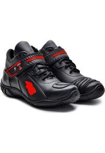 Tenis Motociclista Atronshoes - 401 - Preto/Vermelho