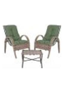 Jogo Cadeiras 2Un E Mesa P/ Jardim Edicula Varanda Descanso Trama Napoli Plus Argila A30
