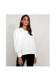 Blusa De Moletom Feminina Manga Bufante Decote Redondo Off White