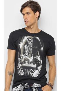 Camiseta Watkins & Krown Caveira Masculina - Masculino-Preto+Cinza