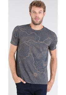 Camiseta Masculina Estampada De Mapas Manga Curta Gola Careca Cinza Mescla Escuro