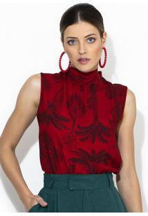 Blusa De Crepe Vermelha