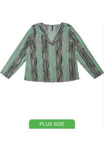 Blusa Com Decote V E Estampa Cinza