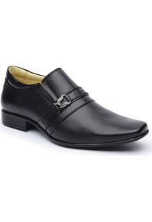 Sapato Social Dlutty Bico Quadrado Pele De Carneiro Masculino - Masculino-Preto