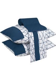 Jogo De Cama Casal 04 Peças Geometric White - Lynel - Branco / Azul