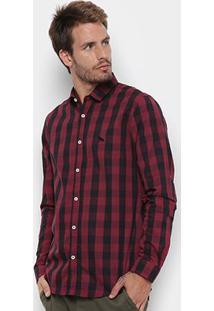 Camisa Manga Longa Acostamento Estampada Masculina - Masculino-Vinho