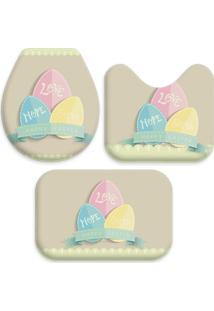 Jogo Tapetes Love Decor Para Banheiro Happy Easter Bege Único