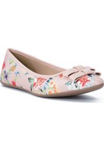 Sapatilha Floral Com Laã§Os- Rosa Claro & Vermelhacarmen Steffens