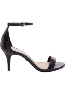 Sandália Gisele Kitten Heel Croco Black | Schutz