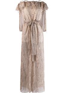 Blumarine Vestido Translúcido Com Amarração Na Cintura - Neutro
