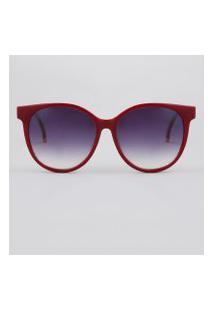 Óculos De Sol Redondo Feminino Yessica Vermelho