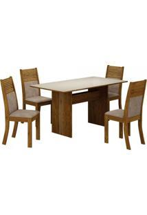 Conjunto Sala De Jantar Mesa Tampo De Vidro Off White Florença 4 Cadeiras Havaí Leifer Canela/Pena Caramelo
