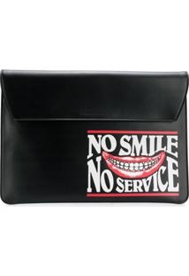 Stella Mccartney Bolsa Clutch Envelope 'No Smile No Service' - Preto