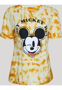 Blusa Feminina Mickey Estampada Tie Dye Manga Curta Decote Redondo Amarela