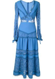 Martha Medeiros Vestido Midi Yana Rendado - Azul