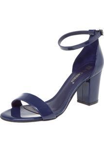 Sandália Di Cristalli Salto Baixo Grosso Azul