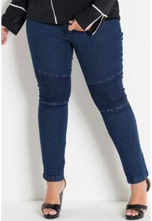 Calça Jeans Plus Size Com Efeitos No Joelho