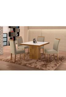 Conjunto De Mesa De Jantar Com 4 Cadeiras E Tampo De Madeira Maciça Arezo Iii Suede Cinza E Off White