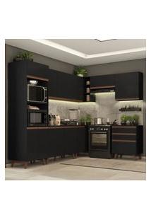 Cozinha Completa De Canto Madesa Reims 462002 Com Armário E Balcáo - Preto Preto