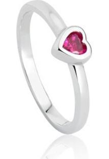 Anel Lolla925 Coração Pink Maya Prata 925