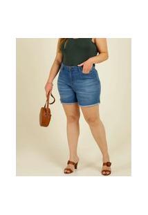 Short Plus Size Feminino Jeans Barra Desfiada Marisa