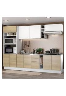 Cozinha Completa Madesa Stella 290001 Com Armário E Balcão Branco/Saara/Branco Cor:Branco/Saara/Branco