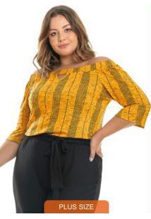 Blusa Ciganinha Rovitex Plus Size Amarelo