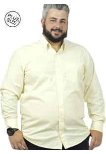 Camisa Plus Size Bigshirts Manga Longa Maquineta Amarela