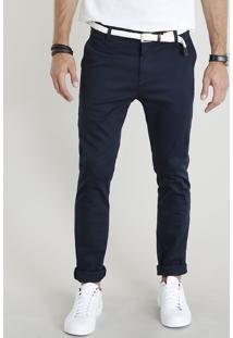 Calça Chino Masculina Slim Com Cinto Trançado Azul Marinho
