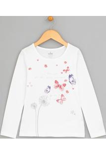 Blusa Infantil Com Estampada Borboletas E Flores - Tam 5 A 14
