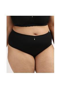 Calcinha Feminina Dilady Plus Size Cintura Alta Microfibra Preta