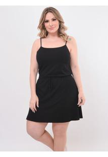 Vestido Plus Size Confortável: Preto: 48