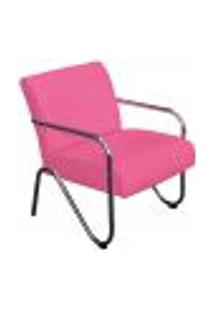 Poltrona Decorativa Sara Pés Cromado Corano Pink - Amarena Móveis