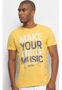 Camiseta Calvin Klein Make Your Kind Of Music Masculina - Masculino-Amarelo Escuro