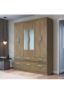 Guarda Roupa Decibal Citrino Com Espelho 6 Portas 6 Gavetas Wood