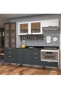 Cozinha Completa 7 Peças Americana Multimóveis 5684 Branco/Grafite