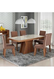 Conjunto De Mesa Olivia Para Sala De Jantar Com 6 Cadeiras Milena-Cimol - Savana / Off White / Chocolate